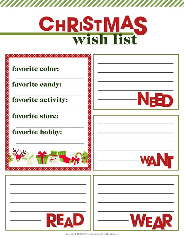 Free Printable Christmas Wish List Free printable, Create and Free