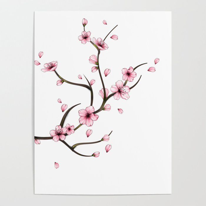 Buy Cherry Blossom Branch Poster By Mitalim Worldwide Shipping Available At Society6 Com Just One Of Mill Cherry Blossom Branch Blossom Tattoo Cherry Blossom