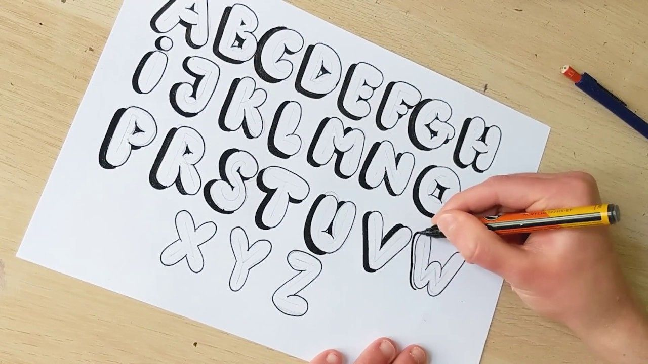 bubble letters draw step easy alphabet tutorial lettering letter write fonts drawing graffiti calligraphy gang hey
