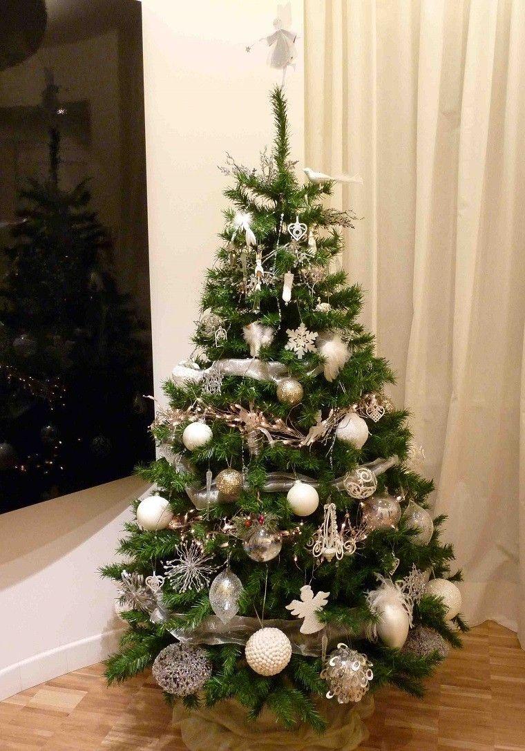 adornos muy bonitos en blanco y plata para decorar el rbol de navidad - Arbol De Navidad Pequeo