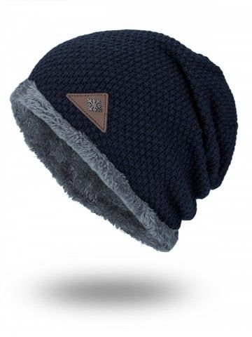 d7b4a391846283 Fluffy Panel Triangle Label Thicken Knit Hat | Christmas | Knitted ...