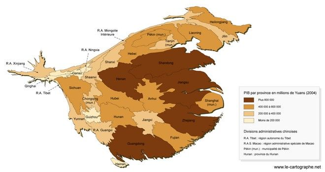 Chine Les Disparites Regionales De L Espace Chinois Chine Chinois Anamorphose
