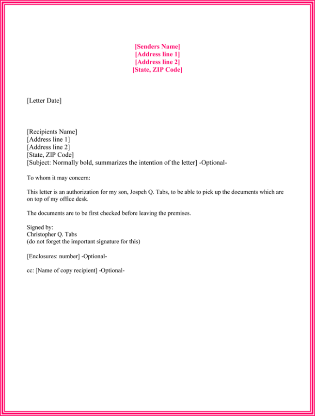 Authorization Letter Sample To Collect Document  Joe