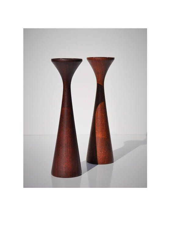Mid Century Danish Modern Candlestick Pair Turned Wood In The