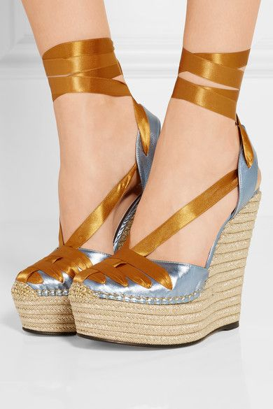 32173fbdecf2 Gucci - Metallic Leather And Satin Espadrille Wedge Sandals - Brass ...