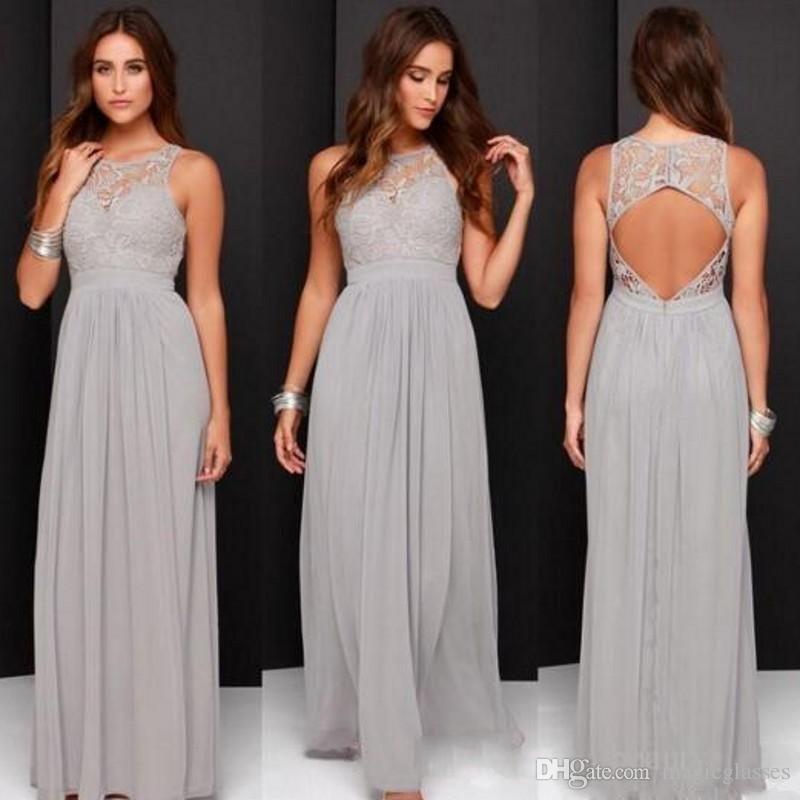 Hot 2017 Country Grey Bridesmaid Dresses For Wedding Long Chiffon A