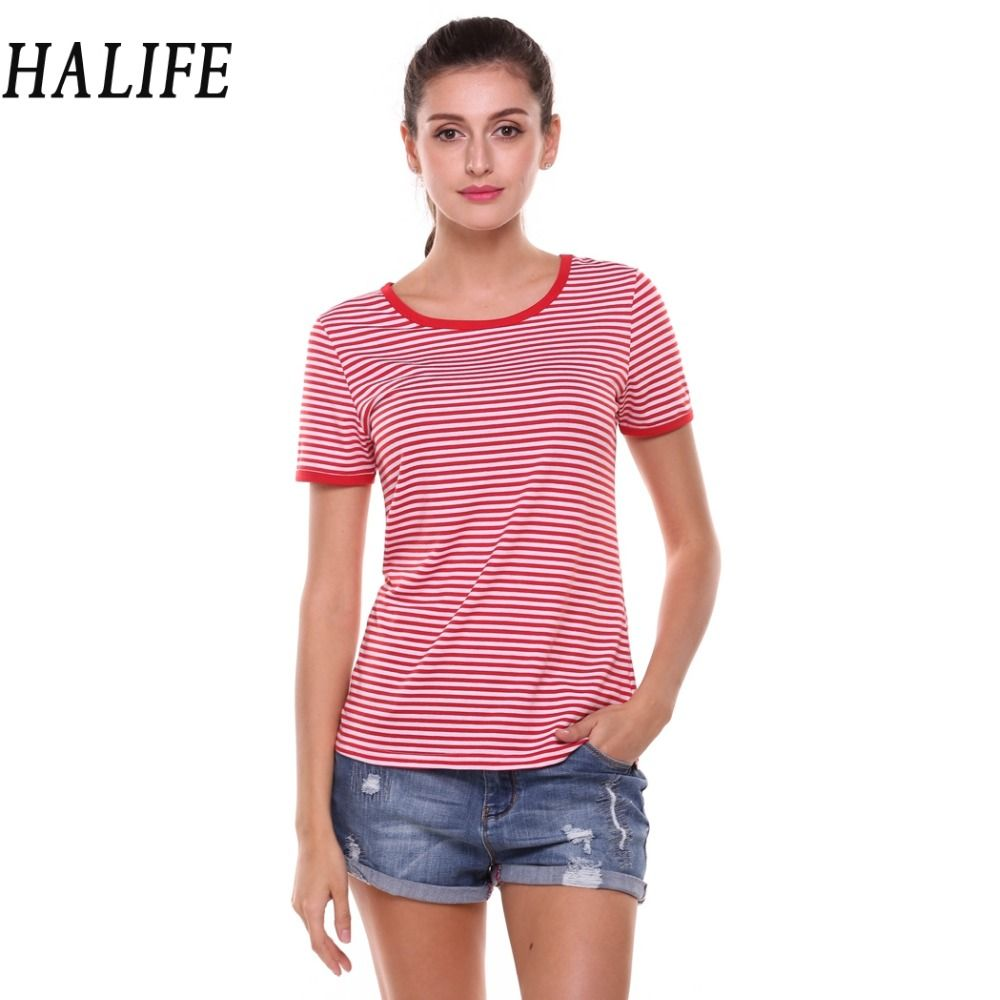Halife summer women tops mujer casual short sleeve contrast