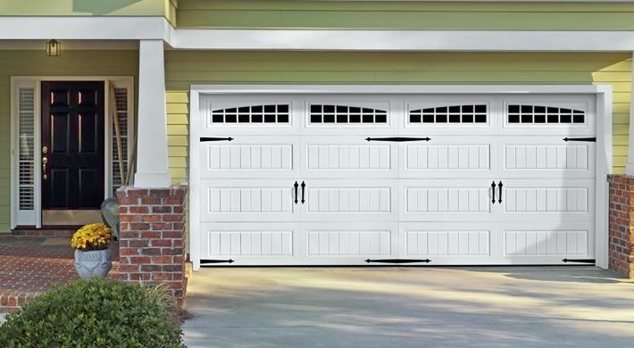 Garage Door Long Panel Bead Board With Moonlite Windows Blue