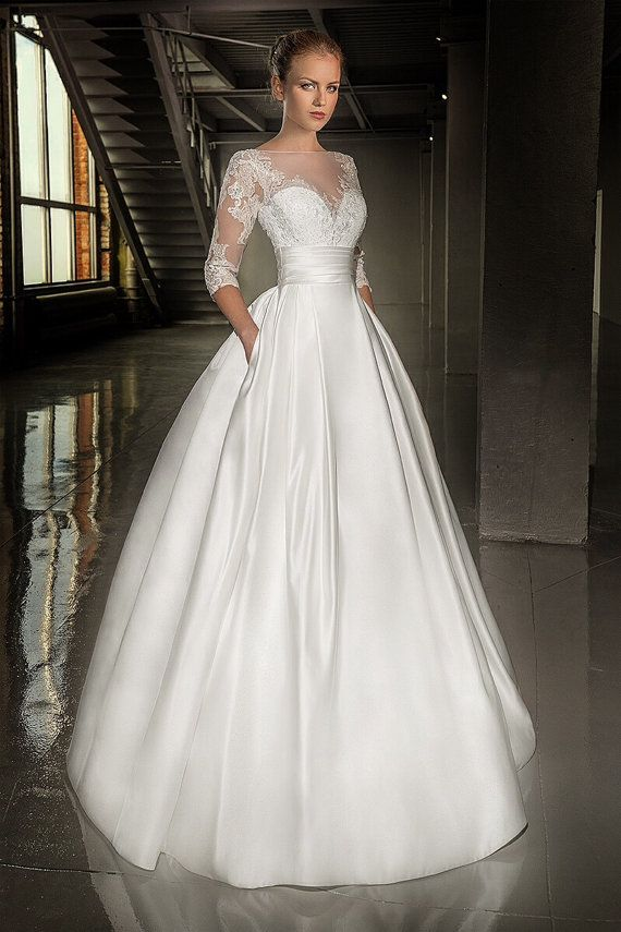 Sweet heart wedding gown with hand beaded beautiful lace for Satin and lace wedding dresses