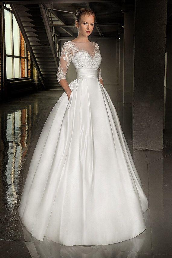 Lace Wedding Dress Long Sleeves Wedding Dress Full Skirt Wedding Dress Sheer Back Wedding Dress Sati Wedding Dresses Lace Wedding Dresses Wedding Dresses Satin