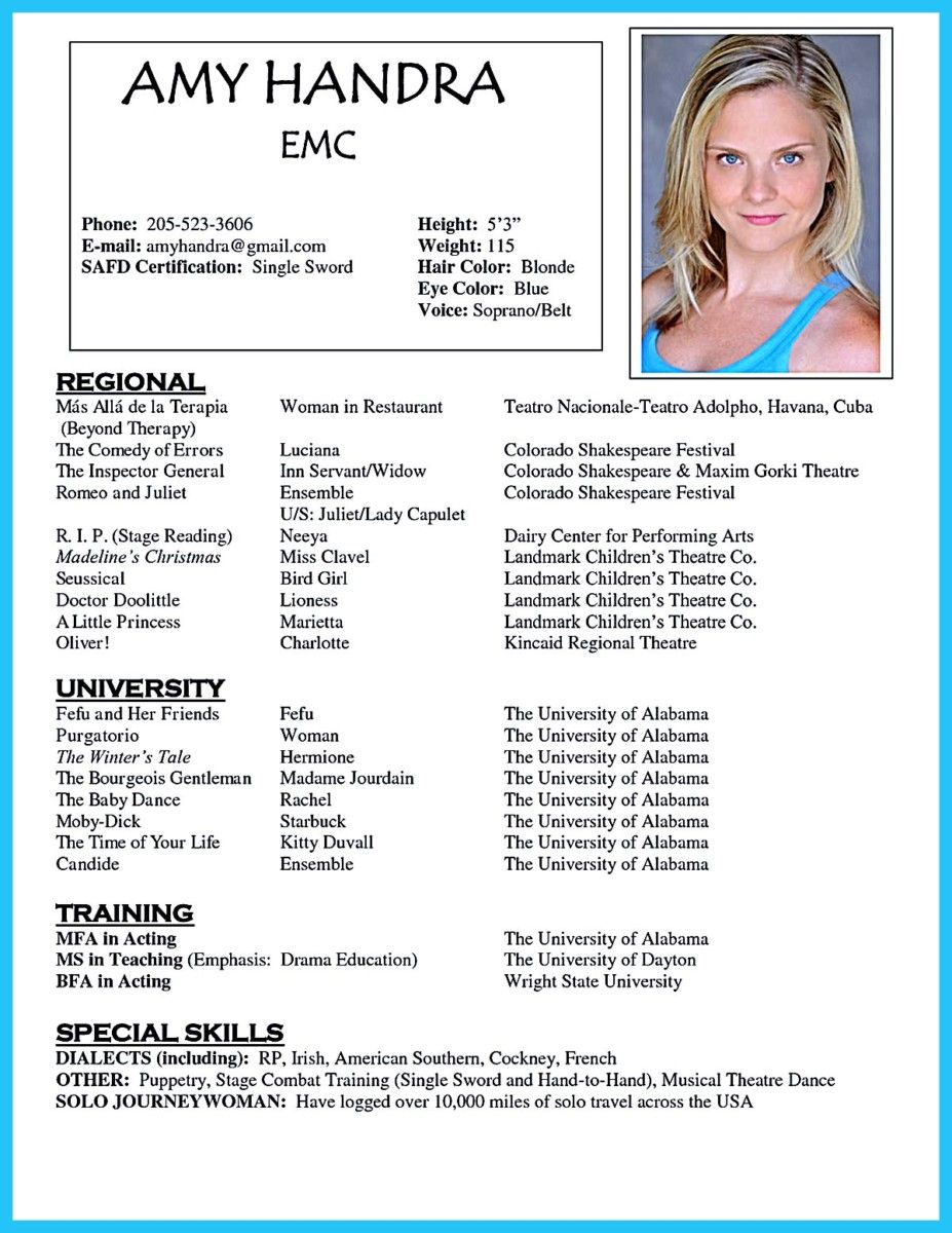 Outstanding Acting Resume Sample to Get Job Soon Acting