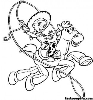 Toy Story 3 Jessie And Bullseye Print Coloring Pages Printable Coloring Pages For Kids Toy Story Coloring Pages Disney Coloring Pages Horse Coloring Pages