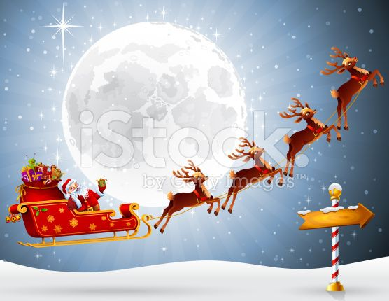 Santa Claus Flying With His Sleigh High Resolution Jpg Cs5 Ai And Christmas Classroom Sleigh Santa Claus