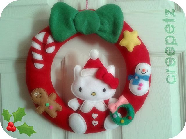 Corona hello kitty navidad buscar con google y buscando - Coronas navidenas de fieltro ...