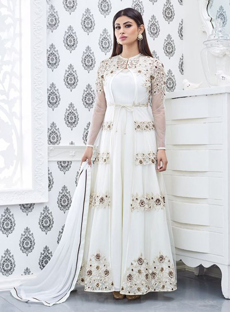 32f9e256e8c Buy Mouni Roy White Net Ankle Length Anarkali Suit 82799 online at lowest  price from huge collection of salwar kameez at Indianclothstore.com.
