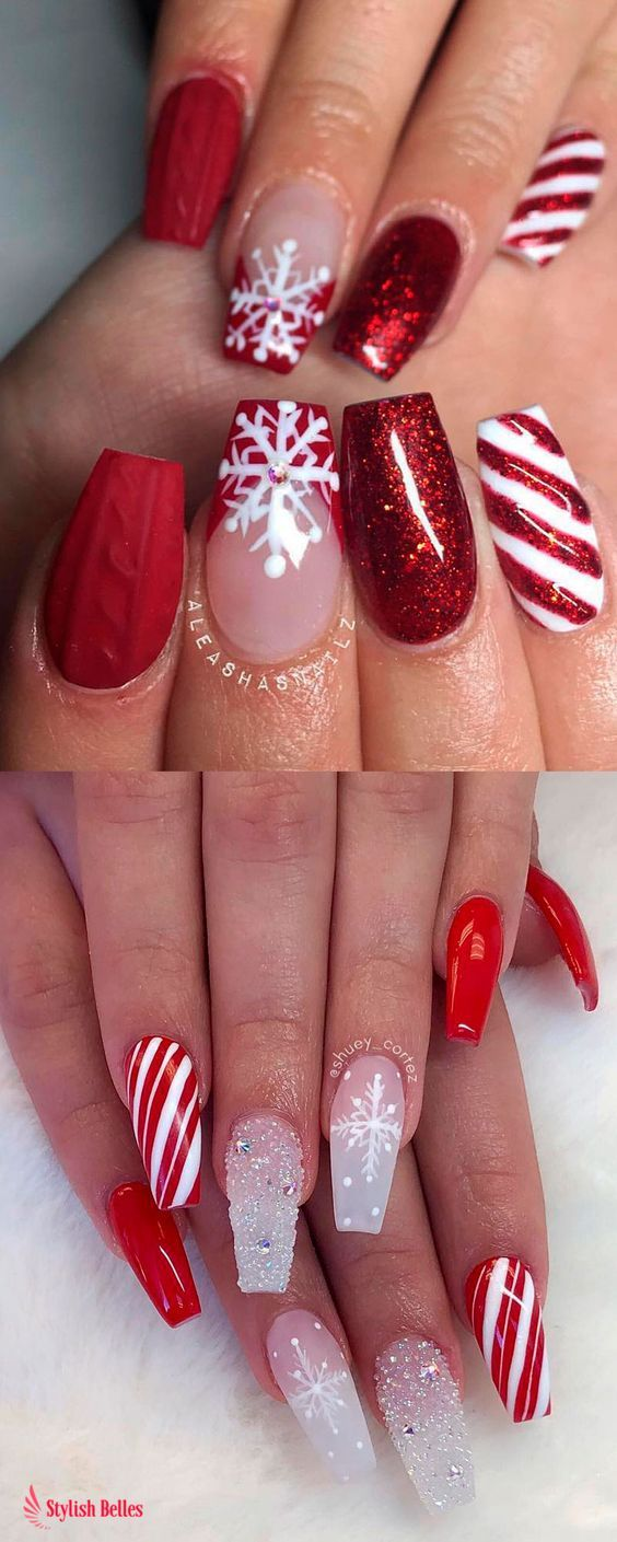 37 Shinning And Beautiful Christmas Nails You Have To See Nails Nail Design Christmas Nails Festival Nails Red Christmas Nails Chistmas Nails Xmas Nails
