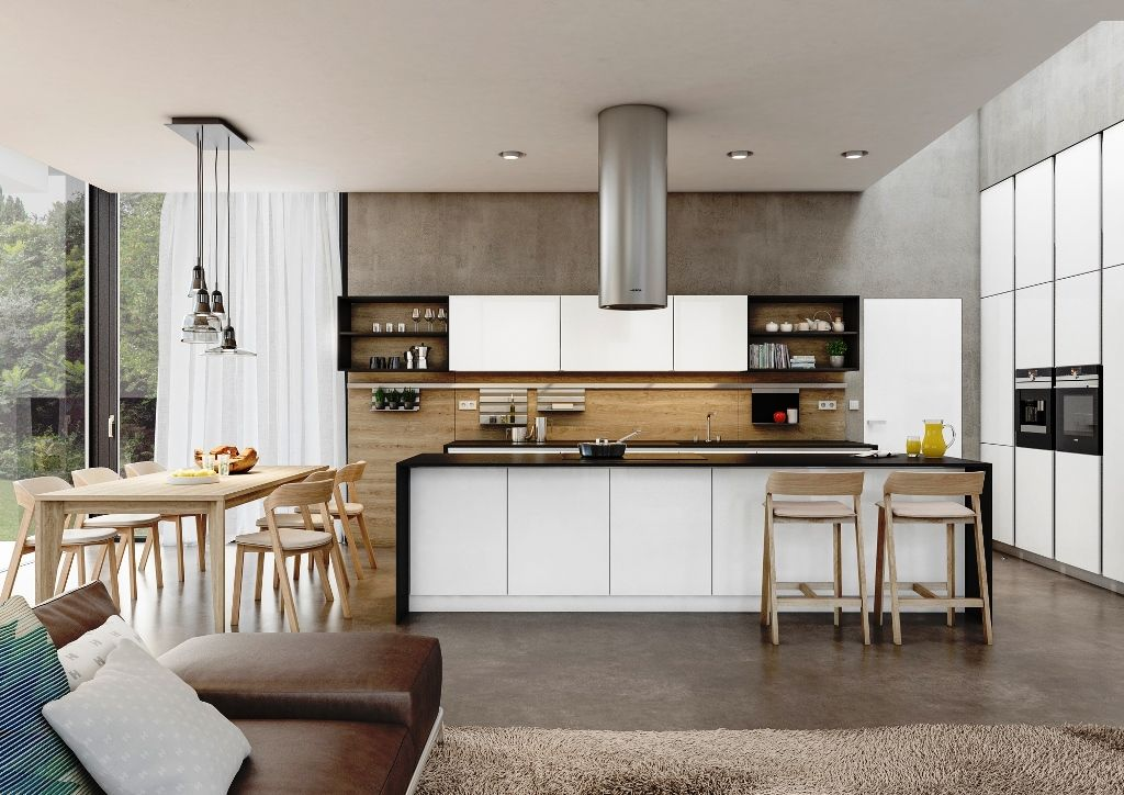 moderna kuchyna HANAK na mieru, biela v kombinacii s