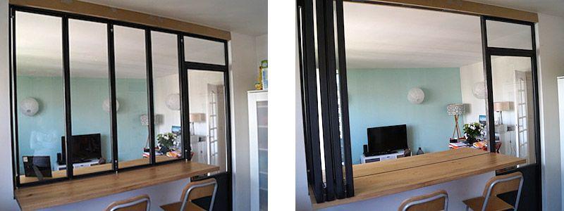 Verriere En Accordeon Avec Plan De Travail Cuisine Verriere Amenagement Maison Renovation Appartement