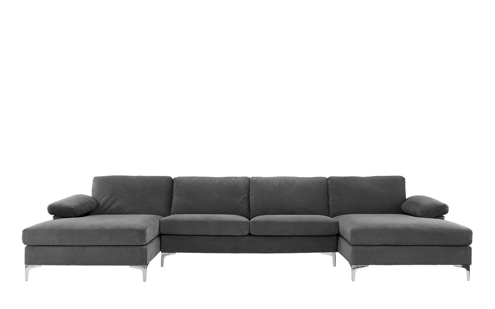 Amanda Xl Modern Velvet Large Sectional Sofa Grey U Shaped Sectional Sofa Modern Velvet Sofa Sectional Sofa