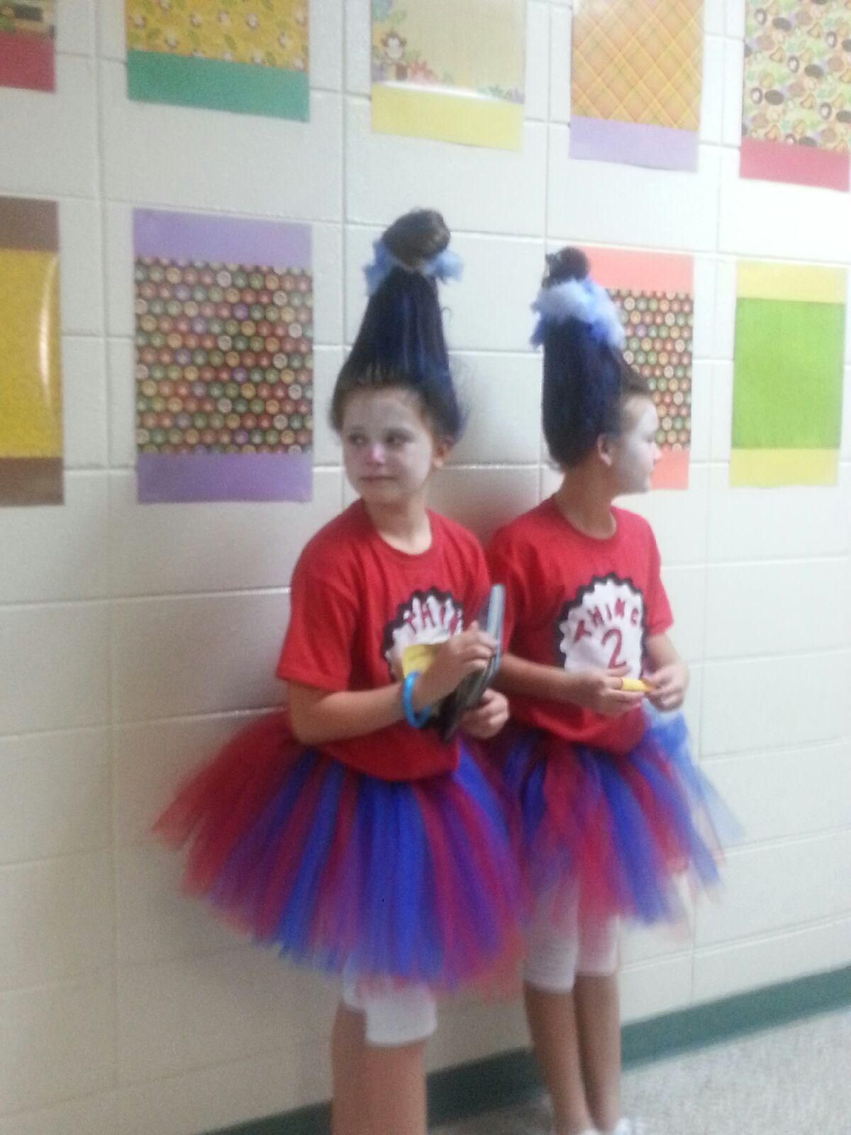 homemade thing 1 thing 2 costumes and coke bottle hair - Thing 1 Thing 2 Halloween Costume