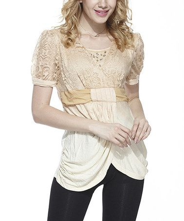 Another great find on #zulily! Beige Lace Drape Surplice Top - Women #zulilyfinds