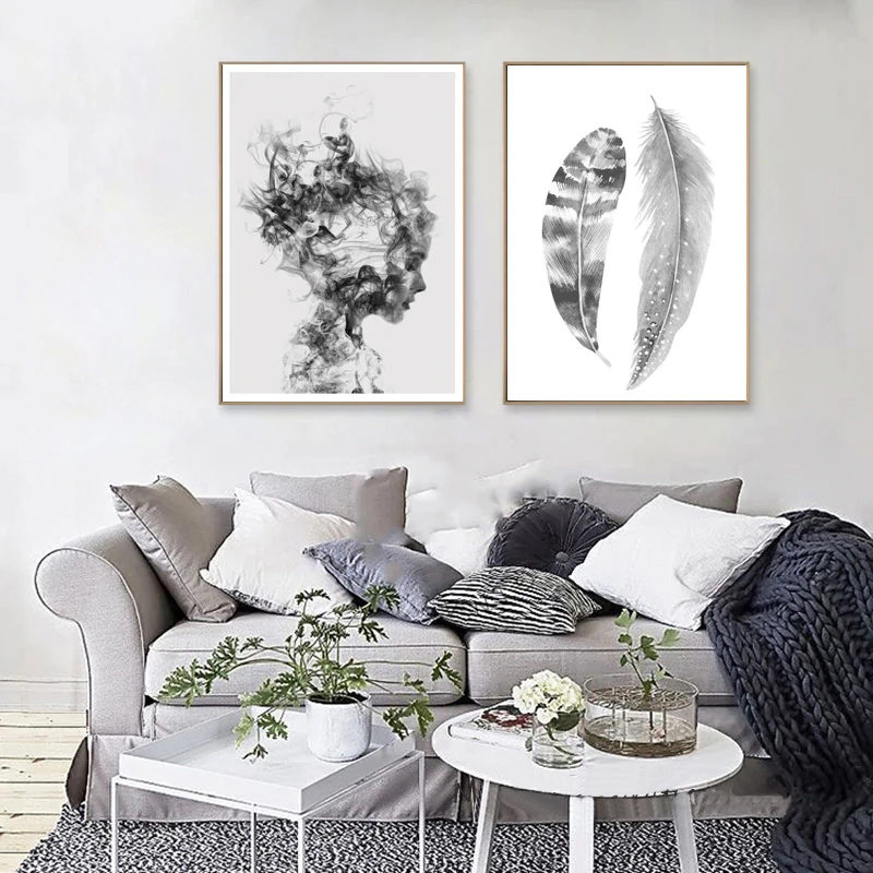 Abstract Feathers Black White Portrait Nordic Style Wall Art Fine Art Canvas Prints Pictures For Modern Scandinavian Style Home Interior Decor Living Room Pictures Wall Art Canvas Painting Wall Decor