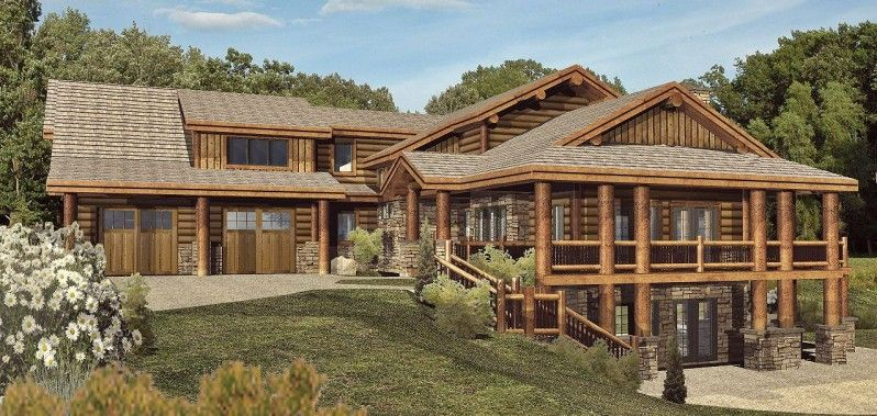 log home house plans designs. two story house plan with walkout basement  Quiet Meadows Raised Log Home Plan 088D 0043 House Plans and More crocheted Pinterest Walkout