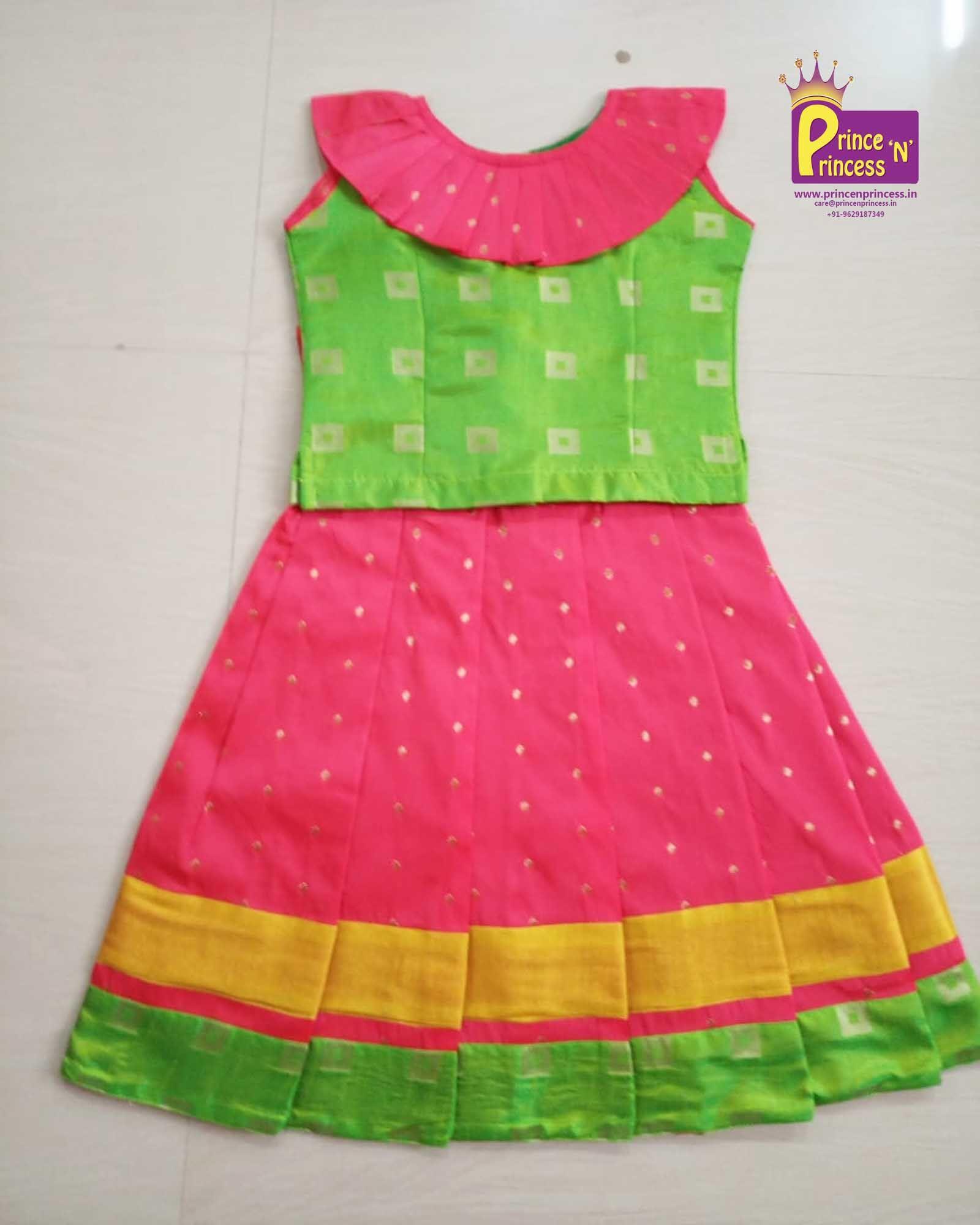 5dec31d6feaf Kids Traditional and Ethnic Pink BlackGreen Multi Pattu Pavadai Langa