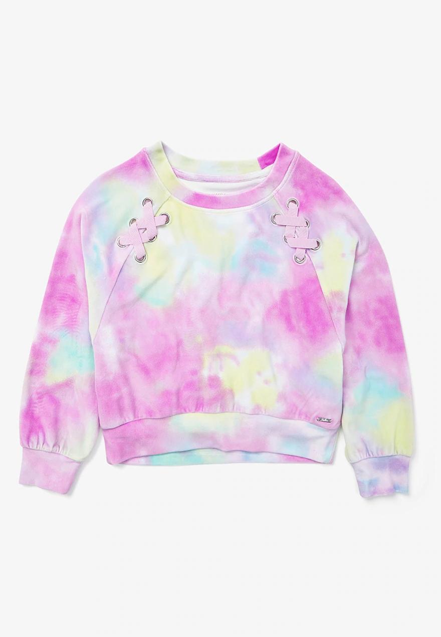 Tie Dye Lace Up Velour Girls Sweatshirt Justice Tie Dye Tie Dye Crop Top Tie Dye T Shirts [ 1270 x 880 Pixel ]