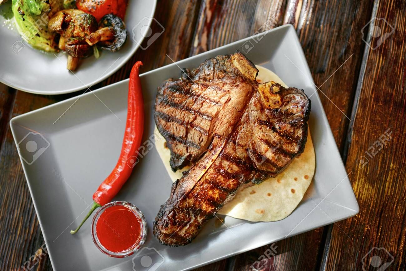 Barbecue Meat With Vegetables And Sauce On Table Closeup. Roasted Steak At Grill Restaurant. High Resolution , #Sponsored, #Sauce, #Table, #Closeup, #Barbecue, #Meat