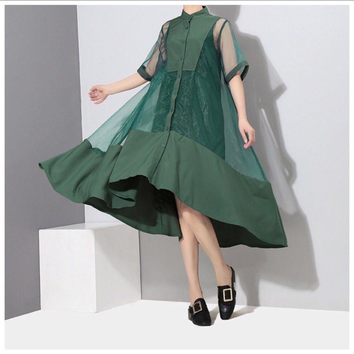 Green Sheer Asymmetrical Fun Swing Dress Stand Collar Dress Women Long Dresses Women S Fashion Dresses [ 1200 x 1200 Pixel ]