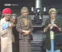 Eric Idle and Terry Jones knit, in drag, (seemingly correctly, while Michael Palin knits wrong) in an episode of Monty Python's Flying Circus. There's at least one more episode where Idle knits correctly, I'm pretty sure.  This image from the blue blog archives: knitting funnies
