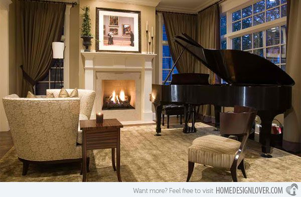 15 Grand Piano Set Ups In Traditional Living Rooms Home Design Lover Piano Room Design Piano Living Rooms Grand Piano Living Room