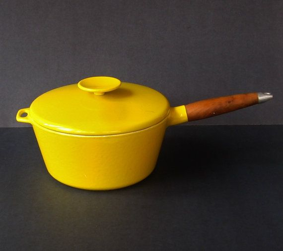 Yellow Michael Lax Copco Cast Iron Pot - Danish Modern Enamelware Copco Denmark, Mid Century Modern Copco Enamel Ware, Copco Pot with Lid