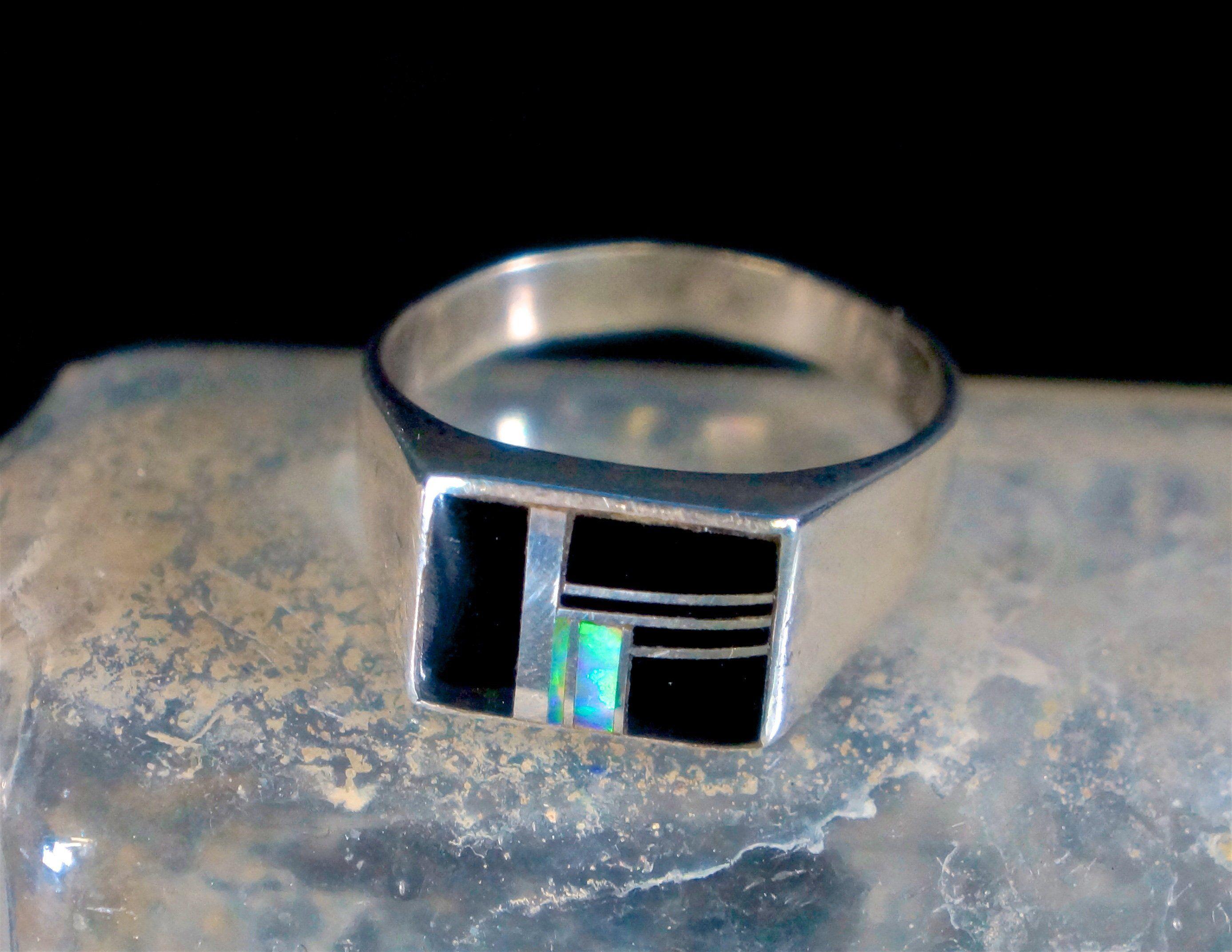 Vintage Zuni Opal Onyx Inlay Ring Zuni Jewelry Vintage Zuni Rings For Men