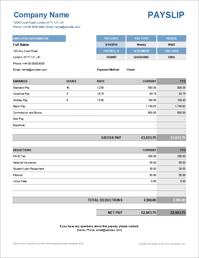 Just Downloaded An Awesome Payslip Template For Excel From Vertex42 Com Payslip Template Payroll Template Templates