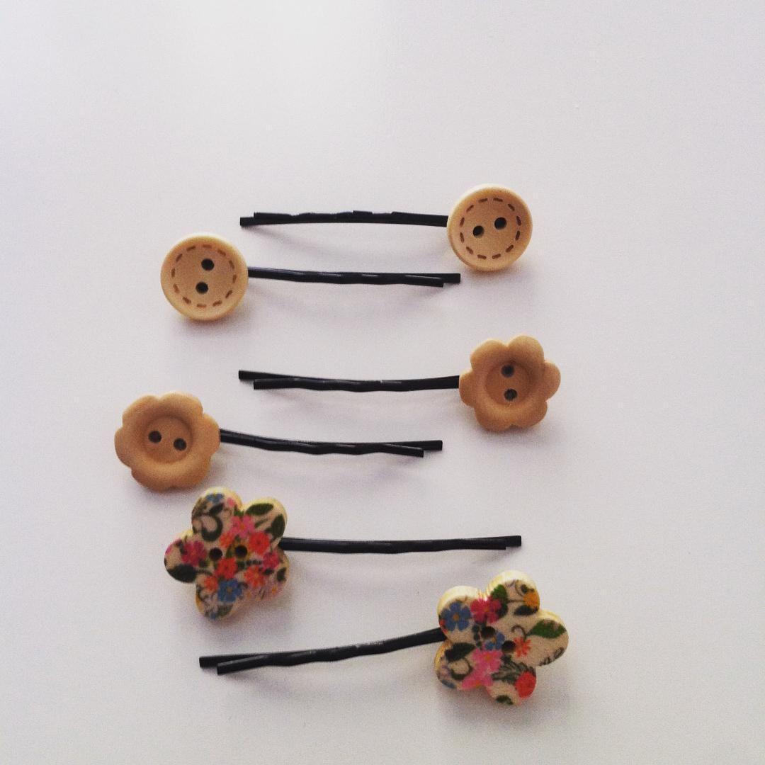 Horquillas botones de madera