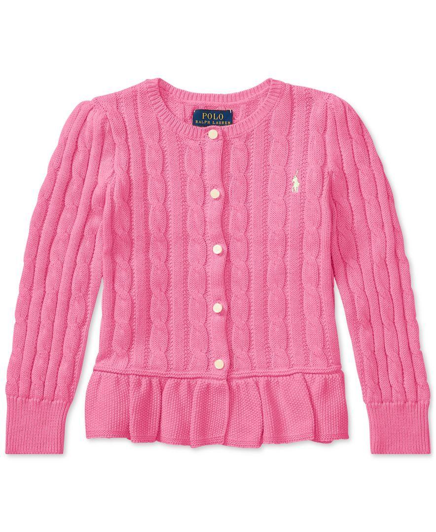 448d15bddbed8 Ralph Lauren Cable-Knit Cotton Cardigan, Toddler Girls | kids ...