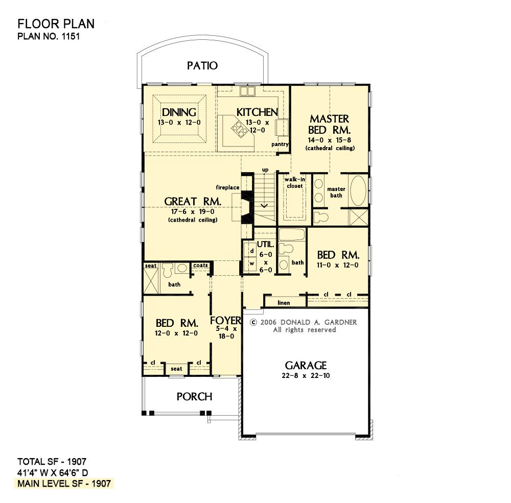 Home Plan The Chesterfield By Donald A Gardner Architects House Plans House Floor Plans Floor Plans