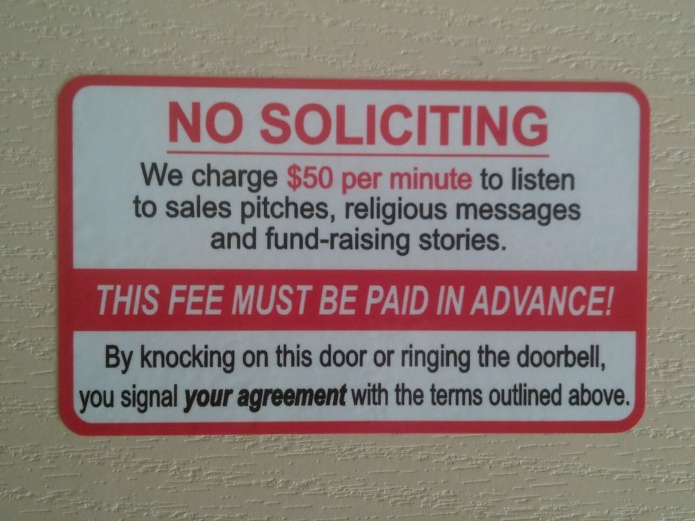 No Soliciting Funny Front Door Sign Sticker. NEW 5×3inch. Stocking Stuffer