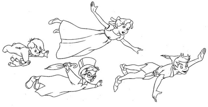 Wendy And Friends Flying With Peter Pan Coloring Page