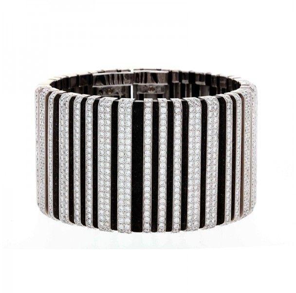 Cartier 18K White Gold Diamond Flexible Cuff Bracelet