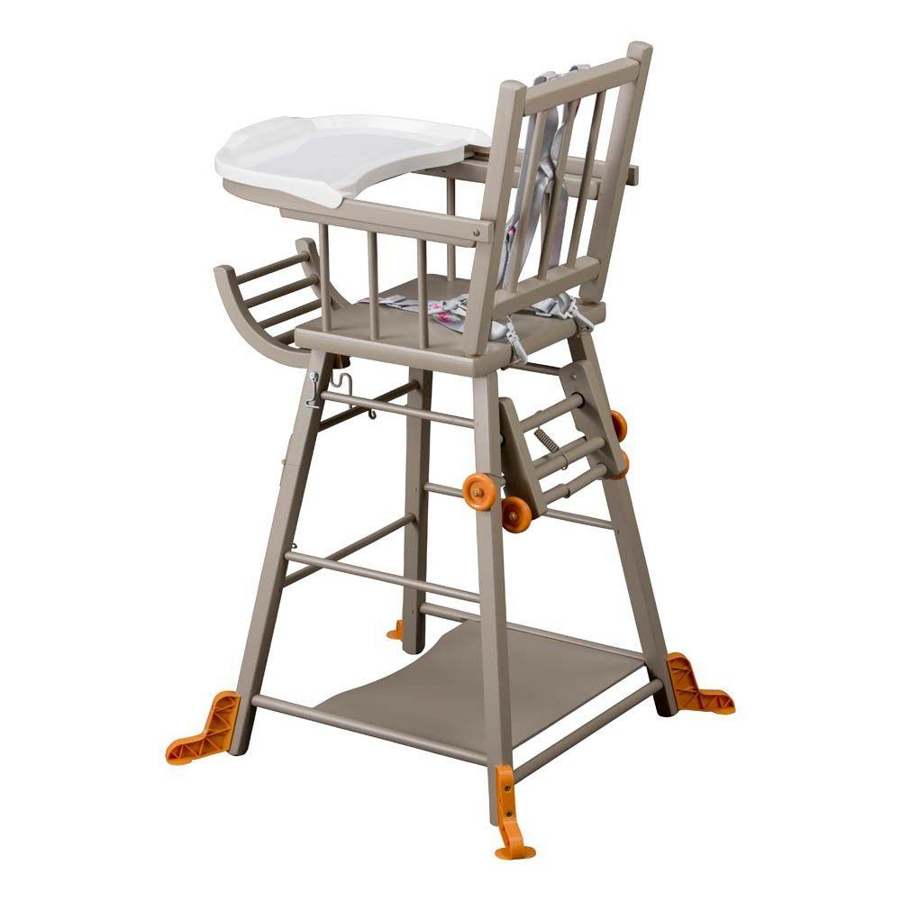 Combelle Chaise Haute Transformable Marcel Laque Gris Chaise