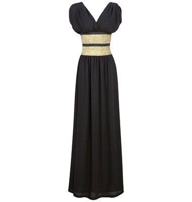 Maxi impressive chiffon dress with deep V neckline front and back, empire waist styling and gold tone elasticated waist stripe