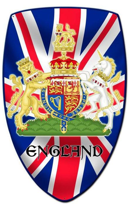 Vintage and Retro Tin Signs - JackandFriends.com - England Shield Custom Shape Metal Sign 21 x 32 Inches, $94.98 (http://www.jackandfriends.com/england-shield-custom-shape-metal-sign-21-x-32-inches/)