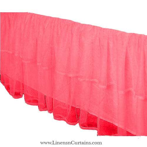 Cute Tulle Coral 2 Layered Ruffle Bed Skirt Tulle Crib Skirts Skirts Tulle Lights