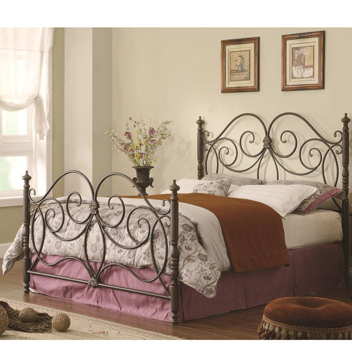 Iron Headboard and Footboard with Scroll Details for Queen Bed Frame ...