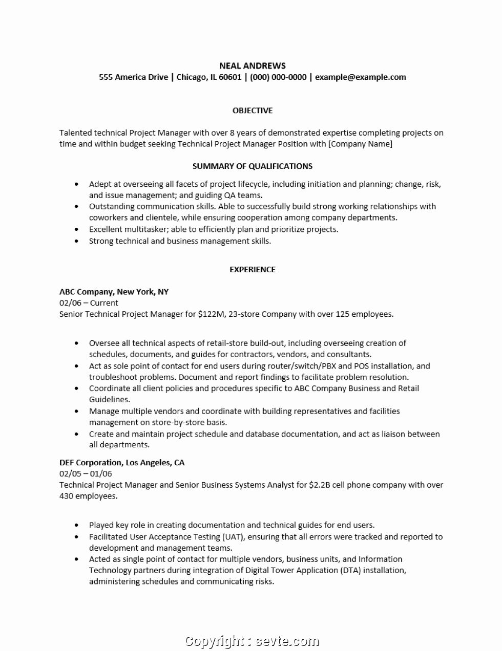Doc project manager resume