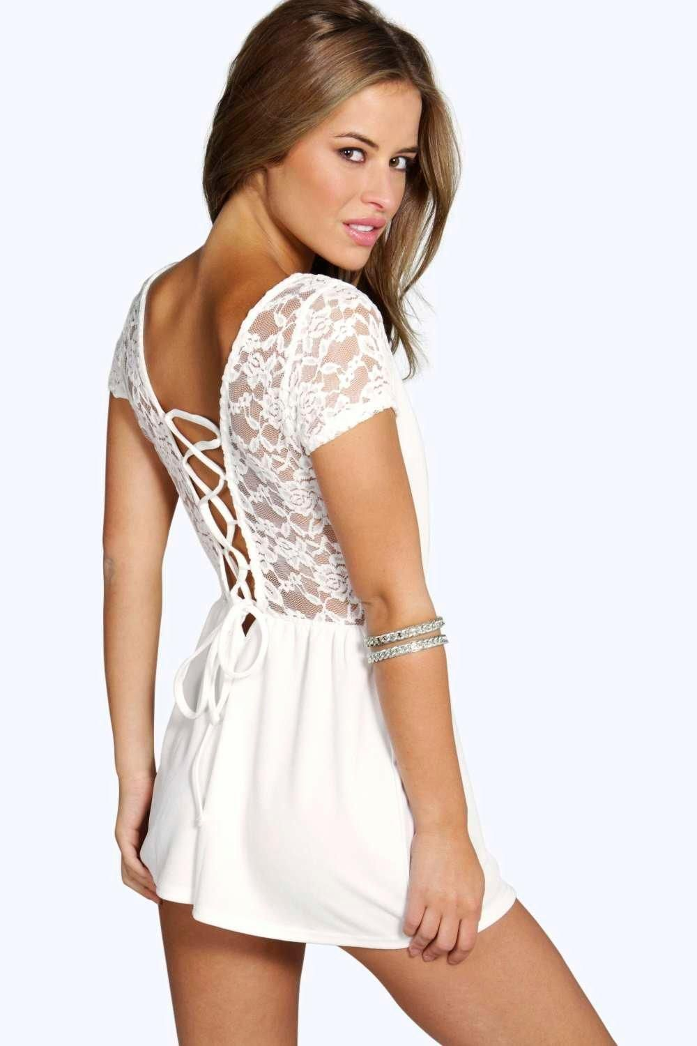 56bd5f868cf7 Boohoo - Petite - Lily Lace Up Back Crochet Playsuit in ivory white
