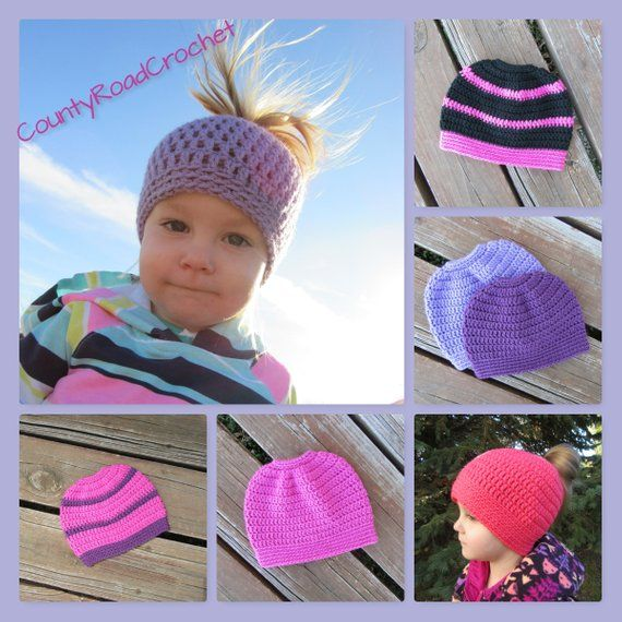 Crochet Ponytail Hat Messy Bun Hat Kid Hats Toddler Beanie Little Girl Hat Girl Winter Hat Sports Hat Open Top Hat School Team Colors Hat #kidsmessyhats